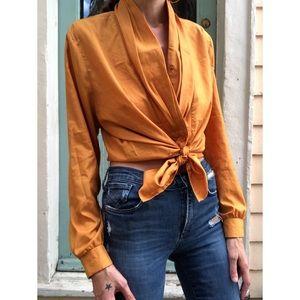 Vintage plunge blouse